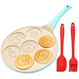 Pancake Griddle Mold with 7 animal Pancake molds. Seven fun shapes:Elephant,Alpaca,Cat,owl,tortoise,hippo,lion;Making every meal different.Ideal pancake molds for kids and your family. Pancake Griddle Saves Your Time: Animal Pancake pan can cook 7 fo...