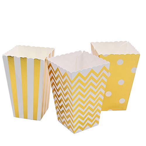 ViViKaya 36Pezzi Scatole di Popcorn Scatole di Caramella Sacchetti per Popcorn Sacchetti di Cartone per Snack per Carnevale, Compleanno, Cinema, Matrimoni, Decorazioni (d'oro)