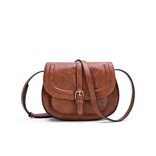 AFKOMST Umhängetasche Damen Kleine, Retro Saddle Crossbody Bag und Damen Handtasche mit Gute Handwerkskunst -Braun/S