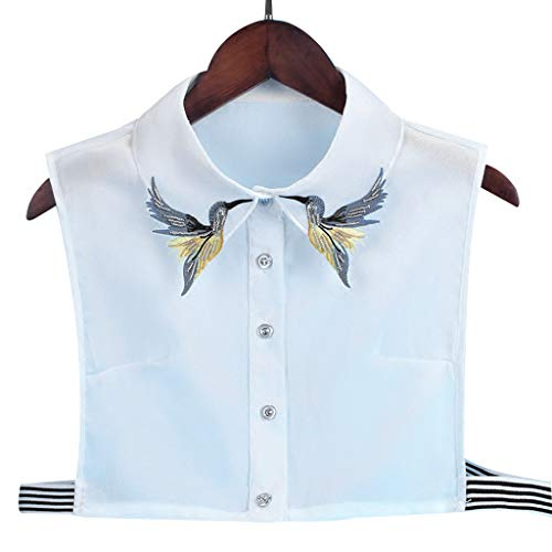 PENG Camisa de Mujer Collar Falso Corbata Moda Pesado Pájaro Bordado Costura de Cristal Cuello Desmontable Cuello Falso Solapa Blusa Top Ropa de Mujer Accesorios