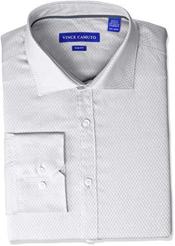 Vince Camuto Men's Slim Fit Spread Collar Fashion Dress Shirt, Grey Diamond Dobby, 16 32/33