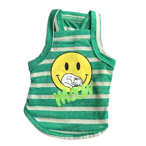 RXL Komfortabel Frühling und Sommer-atmungsaktive Baumwolle und Leinen Striped Smiley-Figur Haustier-Kleidung Hunde-Bekleidung Welpen Weste Teddy Bichon Schnauzer Sanft (Color : Green, Size : L)