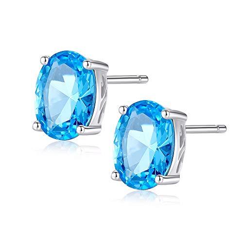 NOBRAND Pendientes Mujer Plata De Ley 925 para Mujeres Pendientes De Botón 925 Plata Forma Geométrica Piedra Cielo Azul Color Simple