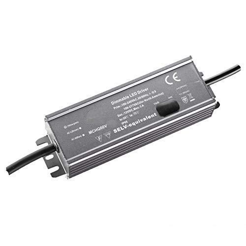 Transformador LED ajustable con función de PFC, 24 V, 60 W, 2,5 A, con certificación IP67, resistente al agua, también adecuado para exteriores, 157 x 53 x 36,5 mm