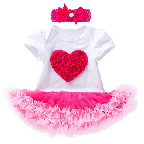 TIFIY Kleid Valentinstag 3 Stück Kleinkind Baby Mädchen Kurzarm Paillette Herz Kleid mit Schuhe Outfits Set(Weiß,6M / 66)