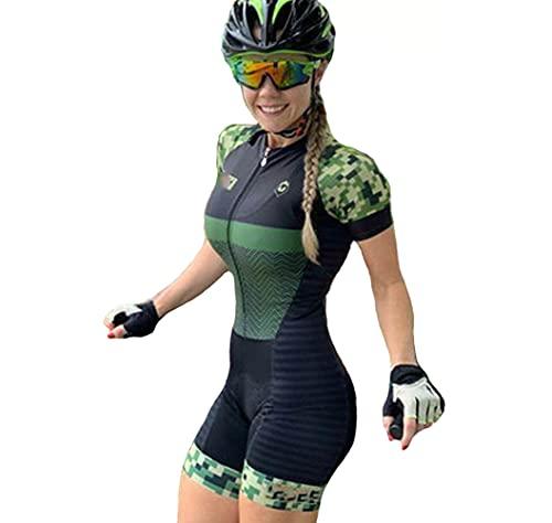 JAJAJA Ropa de ciclismo de verano para mujer, Traje de ciclismo de una pieza de secado rápido, Ropa deportiva ajustada para mujer, Ropa de bicicleta de montaña, Ropa de bicicleta de carretera (M)