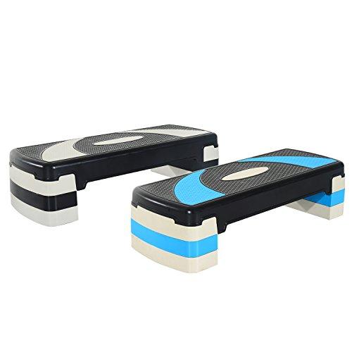 HOMCOM Step de Aeróbic para Fitness Stepper Tabla Plataforma Deporte Gimnasia Altura Regulable 3 Niveles Carga 150kg