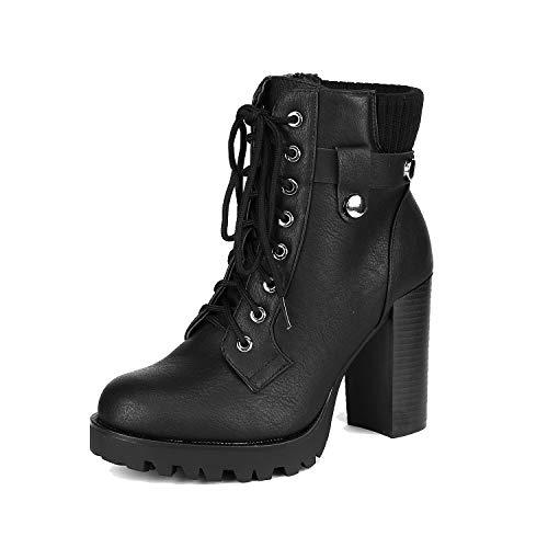 Dream Pairs SCANDL Mujer Botines de Tacón Alto Plataforma Invierno Moda Zapatos con Cordones Cremallera Negro 40.5 EU/9.5 US