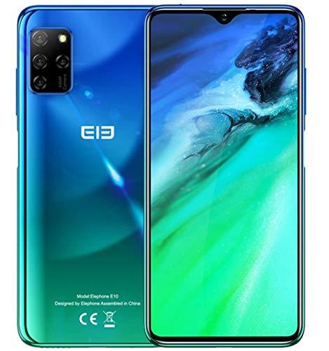 【2020】 ELEPHONE E10 Smartphone ohne Vertrag, Android 10 4G Handy, Fünf Kamera 48MP + 13MP, 6,5 '' Wassertropfenbildschirm, Octa Core 4GB+64GB, DUAL SIM + SD (3 Kartenschlitz), 4000mAh NFC Blau