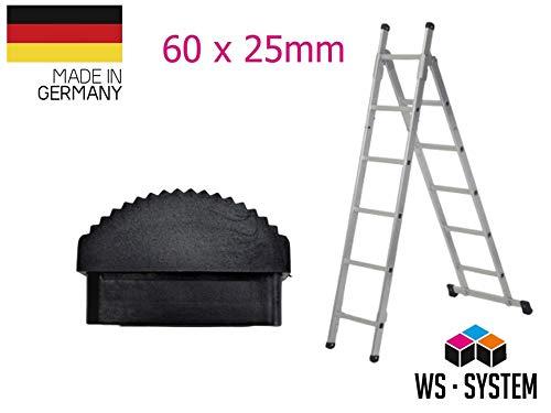 Leiter Gummi-Füße Fuß Gummi Traversenfußkappe Kappe Ersatz Anti-Rutsch (60 x 25 mm, 1 STK)
