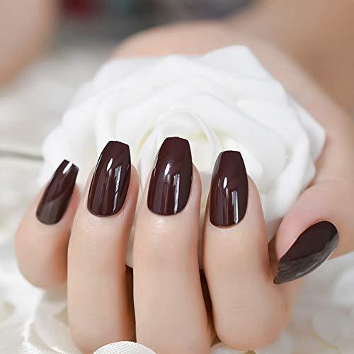 WOVP Faux Ongles Ongles Café Noir Brun Ballerines Faux Faux Ongles Chocolat Tête Carrée Pleine Couverture Doigt Nail Art Conseils