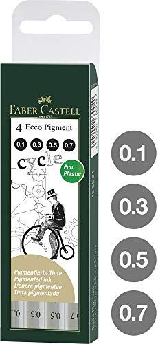 Faber Castell 166004 - Estuche con 4 rotuladores calibrados ECCO Pigment con grosores de trazo: 0.1, 0.3, 0.5, 0.7, color negro