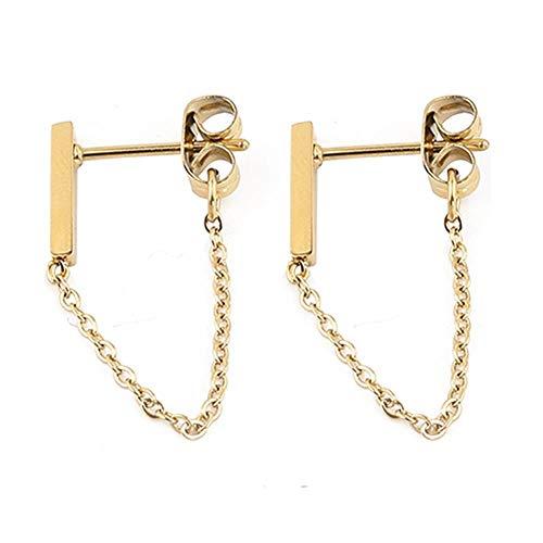 Minimalistische Sterling Silber Gold Kette Ohrringe - Drop Bar mit Line Chain-Staple Bar Line Kabel Studs für Sie - minimalistisches modernes Design von Galis (Golden)
