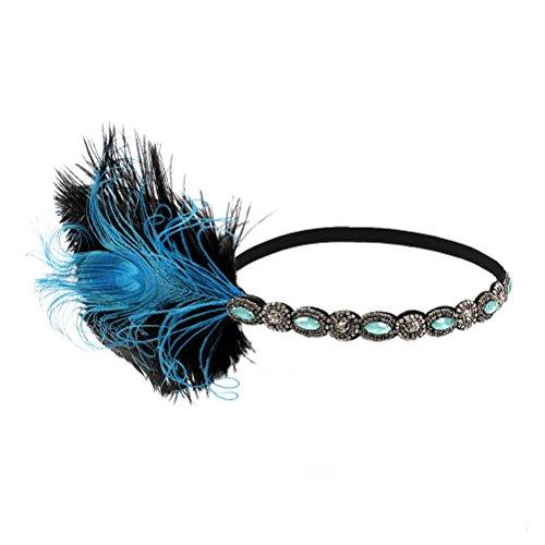 LUOEM dames pauw veer flapper hoofdband haarband 1920s elastisch met strass voor feestjes bruiloft burlesque kostuum accessoire (blauw)