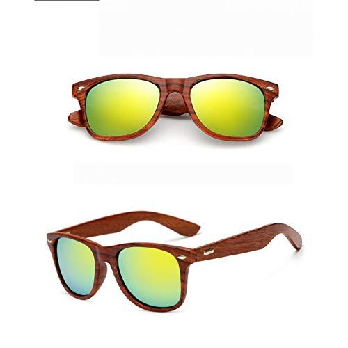 BAJSKD Gafas de Sol de Madera para Hombre de Moda para Mujer, Gafas Hechas a Mano con Revestimiento, Lentes de protección UV 400 espejadas