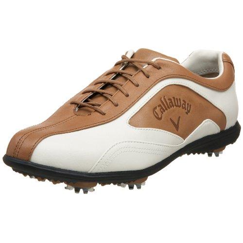 Callaway Women's Batista Golf Shoe,Blanco/Caramel,9.5 M US