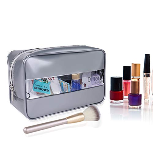 Holographic Makeup Bag, L-MORO Clear Cosmetic Pouch Toiletry Organizer Cute Pencil Case Stationery Box, Gifts for College Girls Teens Women (Silver)