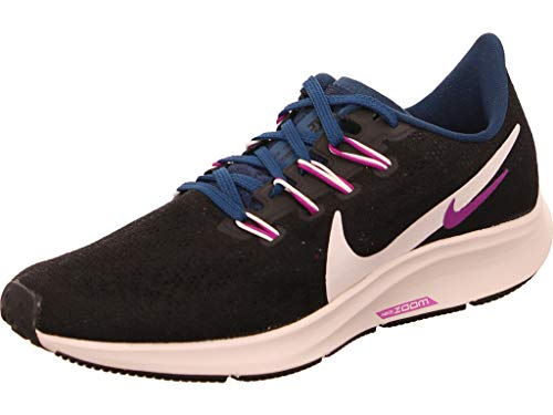 Nike Wmns Air Zoom Pegasus 36, Zapatillas para Correr para Mujer, Black/Summit White/Valerian Blue/Vivid Purple, 40 EU