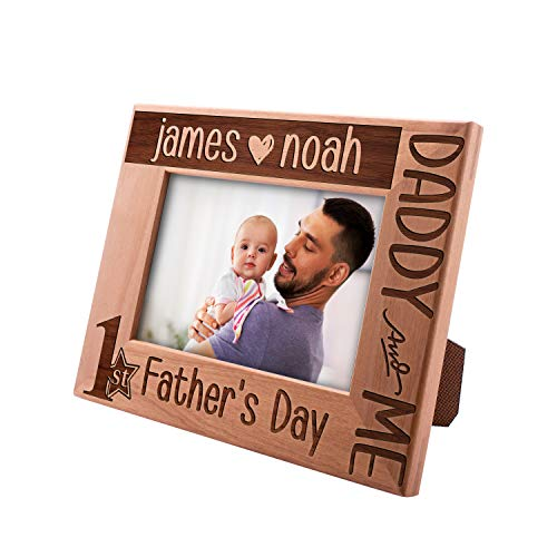 Be Burgundy Personalized First Father's Day Picture Frame for Father's Day, 4x6, 5x7, 8x10 - Horizontal and Vertical Options - Gift for Dad, New Dad Gifts, Birthday Gift for Dad