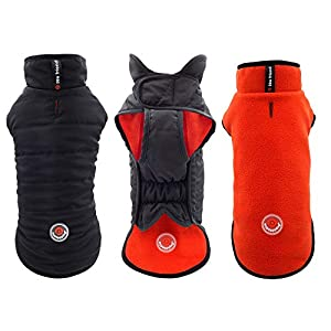 mypappydog Dog Jacket for Small Medium Breeds Puppy Dogs Reversible Fleece Dog Sweaters Windproof Dog Winter Coat Easy on Easy Off Stylish Sporty and Functional Dog Vest | 4 Sizes | Black/Orange