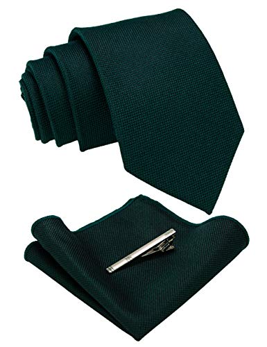 JEMYGINS Dark Green Wool Tie Cashmere Necktie and Pocket Square with Tie Clip Sets for Men(2)
