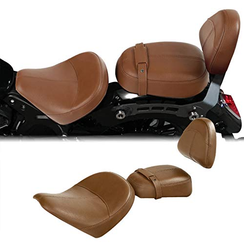 XFMT Motorcycle Extended Reach Driver Passenger Seat W/Backrest Pad For Indian Scout 2015-2020 Sixty 2016-2020