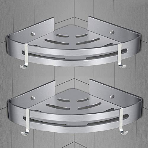 Duschregal ohne Bohren [2 Pack] Bad Dusche Caddy Corner Aufbewahrungsregal, Wand-Dusche-Korb für Duschküche Duschkorb, enthalten 4 Haken, selbstklebend mit Kleber oder Wandhalterung mit Schrauben