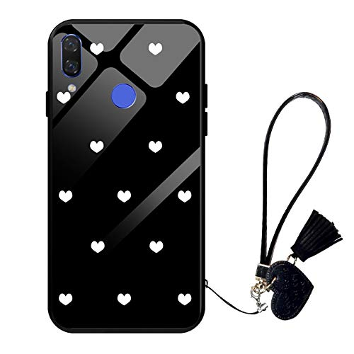 Oihxse Moda Case Compatible para OPPO R9 Plus Funda Vidrio Templado con Cuerda Cordón TPU Silicona Suave Bumper Cover Anti-Choques Anti-Rasguños Cáscara de Cristal Estuche,A7