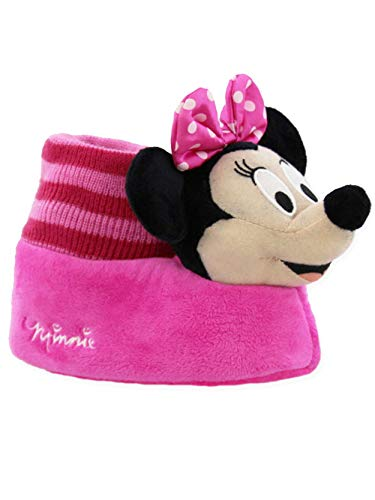 Disney Minnie Mouse Toddler Girls Plush 3D Minnie Head Sock Top Slippers (7-8 M US Toddler, Pink/Black)