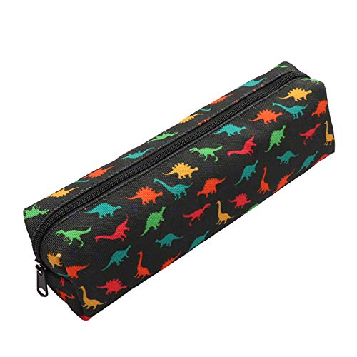 Aiphamy Dinosaur Pencil Case Holder Zipper Canvas Pen Pouch Bag for Boys Girls Kids Teens Teenagers Student Women Men, Black