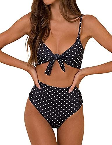 Conjunto de Bikini de Cintura Alta para Mujer Traje de Baño de Dos Piezas Traje de Baño de Nudo de Corbata de Guinga(Puntos Negro,XL)