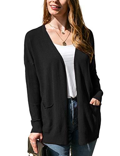 Doublju Women's Long Sleeve Open Front Knit Pocket Cardigan Sweater with Plus Size Black 2X