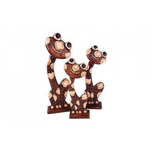 Frosch 3er-Set Holzfigur Geschnitzte & handbemalenen PU1428