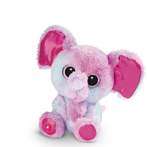 NICI Glubschis Kuscheltier Elefant Samuli 15cm, Plüschtier mit großen Glitzeraugen 45556, bunt/pink