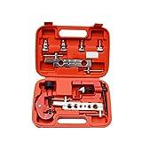 FYstar 8pcs / set Herramienta de expansión de tubo métrico y en pulgadas Herramientas de mantenimiento de aire acondicionado Herramienta de expansión de tubo de cobre escariador (rojo)