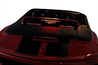 2011-2015 Chevrolet Camaro 5th Gen Convertible Wind Deflector - Control air flow, cut down backdraft, wind noise - GM Licensed - Easy Install, Secure Mounting - Laser-Etched Design - Option 2 - Red