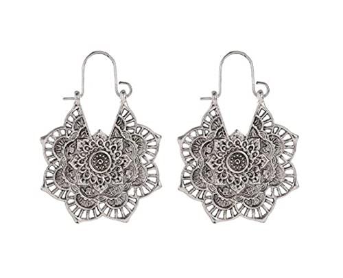 MENGHUA Pendientes de estilo étnico retro exótico metal hueco flor pendientes tallados estilo palacio plata antigua