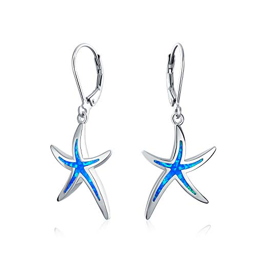 Blue Created Opal Inlay Nautical Ocean Marine Life Starfish Drop Leverback Earrings For Women 925 Sterling Silver