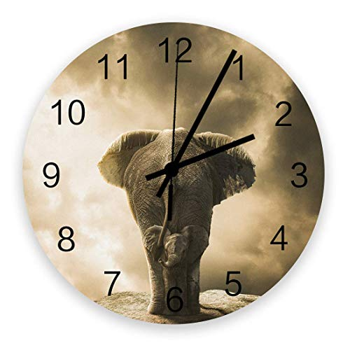 Decoración del hogar Reloj redondo de madera de 10 pulgadas, afecto padres e hijos elefantes silencioso sin tic-tac números arábigos, reloj con pilas, decoración de pared para sala de estar, cocina, d
