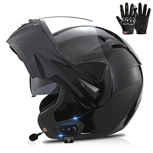 ETScooter Modular Casco Moto Bluetooth ECE Homologado Casco de Moto Integral para Mujer Hombre Adultos con Anti Niebla Doble Visera Casco Integrado con 500mA Auriculares Bluetooth