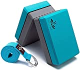 Heathyoga Yoga Block (2 Pack) and Yoga Strap Set, High Density EVA Foam Block to Support and Improve Poses and Flexibility…