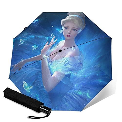 Taschenschirme Frozen Girl Princess Dream Automatisch Tragbar Dreifach Faltbarer Regenschirm, Windschutz Wasserdicht Anti-UV Regenschirm, Automatisches Öffnen/Schließen, Tragbarer Faltschirm