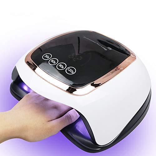 BLUEQUE 168W Lámpara LED UV Uñas,Lámpara Secador de Uñas LED UV Gel Esmalte de Uñas Curado Luz Máquina Pantalla LCD Táctil Sensor Automático, con Temporizador 30s/60s/90s/120s,