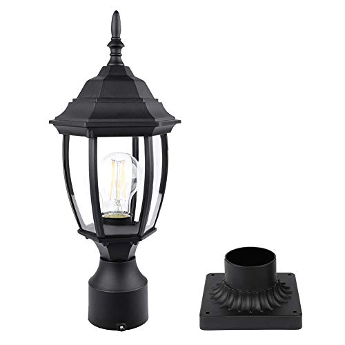 PARTPHONER Outdoor Post Light with Pier Mount Base, Waterproof Pole Lantern Light Fixture, Exterior Lamp Post Lantern Head with Clear Glass Panels for Yard, Garden, Patio, Pathway (6 Inch)