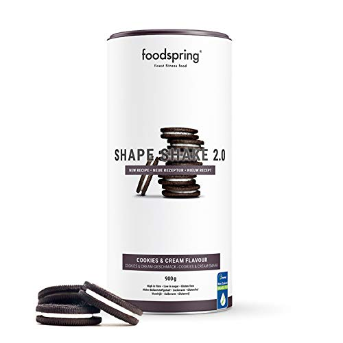 foodspring Shape Shake 2.0, Cookies & Cream, 900g, High Protein, Gluten-Free, Low Sugar Meal Replacement for Weight Loss*