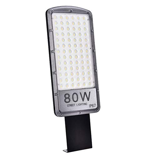 Papasbox LED Straßenlaterne, 80W Straßenlampe Straßenleuchte 8000LM Aussenleuchte Mastleuchte Lampe Hofbeleuchtung IP67 Kaltweiß 6000K Wegeleuchten Sicherheits Wand Licht