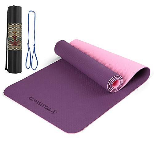TOMSHOO Esterilla Yoga Antideslizante, Colchoneta Yoga de TPE 8mm, Alfombrilla Yoga Doble Capa y Doble Color con Correa y Bolsa de Transporte para Pilates Ejercicios y Fitness (Púrpura y Rosa)