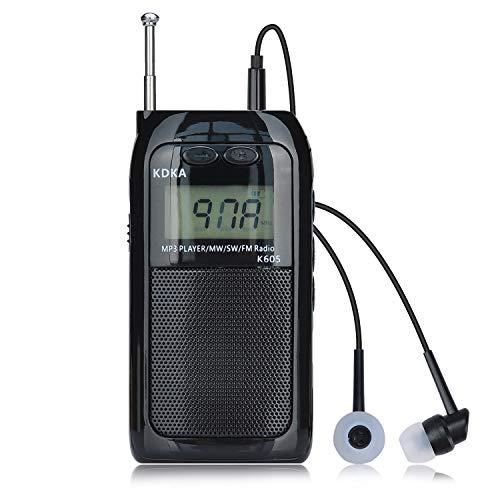 Songway Radio De Bolsillo Portátil LCD Pantalla Digital Soporte Tarjeta TF Reproductor De MP3 Recargable FM SW MW Am Estéreo Mini Walkman Radio con Memoria De Apagado, Soporte de luz de Fondo