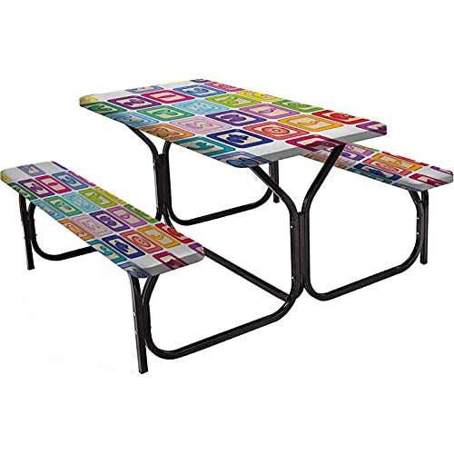 abc outdoor benches Educational Polyester Picnic Table, Colorful Lower Case Alphabet Blocks Cute Kids Font ABC Cartoon Style Typography, 3-Piece Elastic Edged Table Cover for Christmas,Parties,Picnic 72