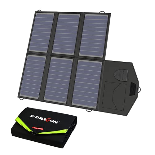 X-DRAGON Tragbares Solarladegerät 40W (5V USB + 18V DC) Faltbares Solarpanel für Laptops, Akku, Powerbank, Tablets, Smartphones, Reise, Notfall…